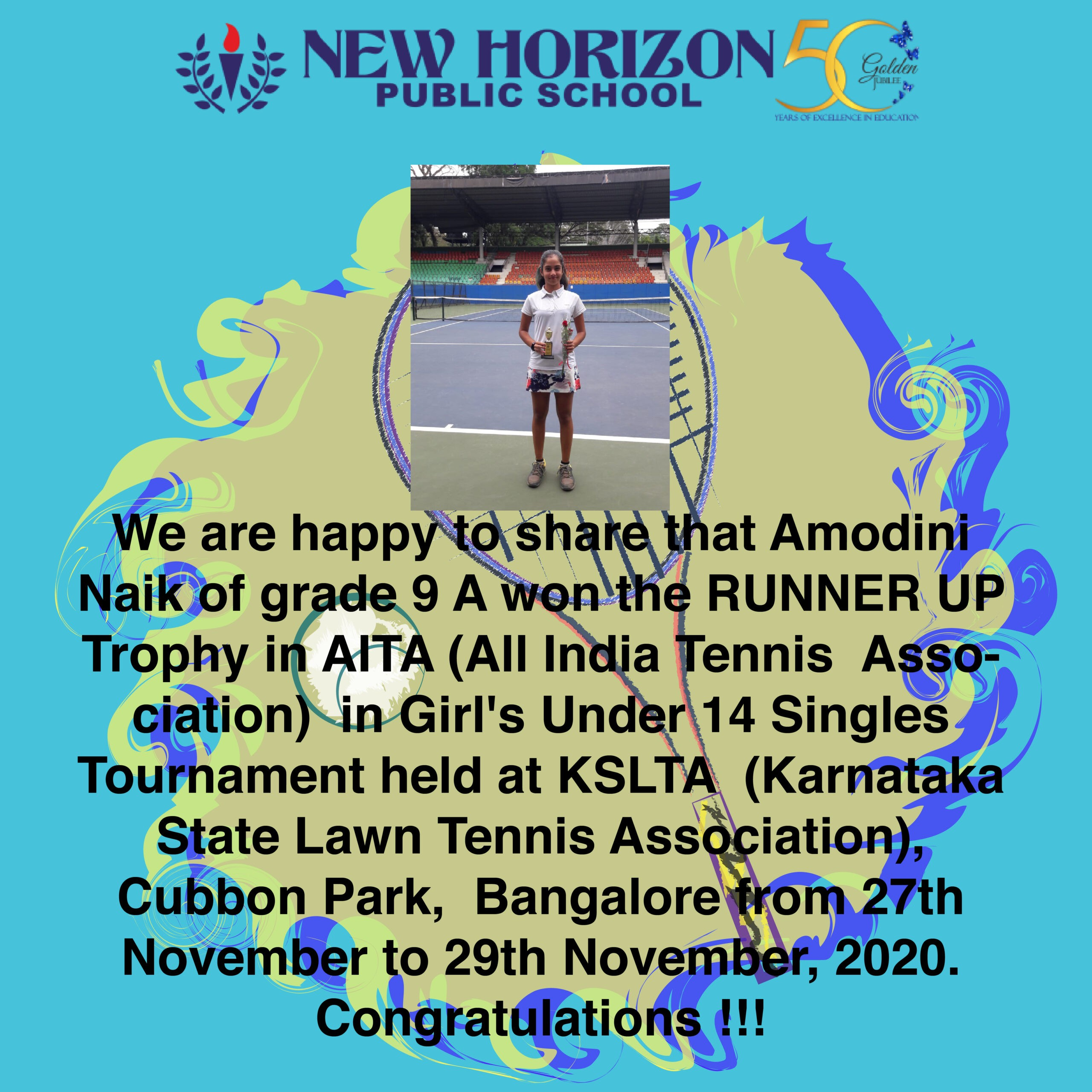 Amodini Naik of grade 9 'A' won the Runner up trophy in AITA