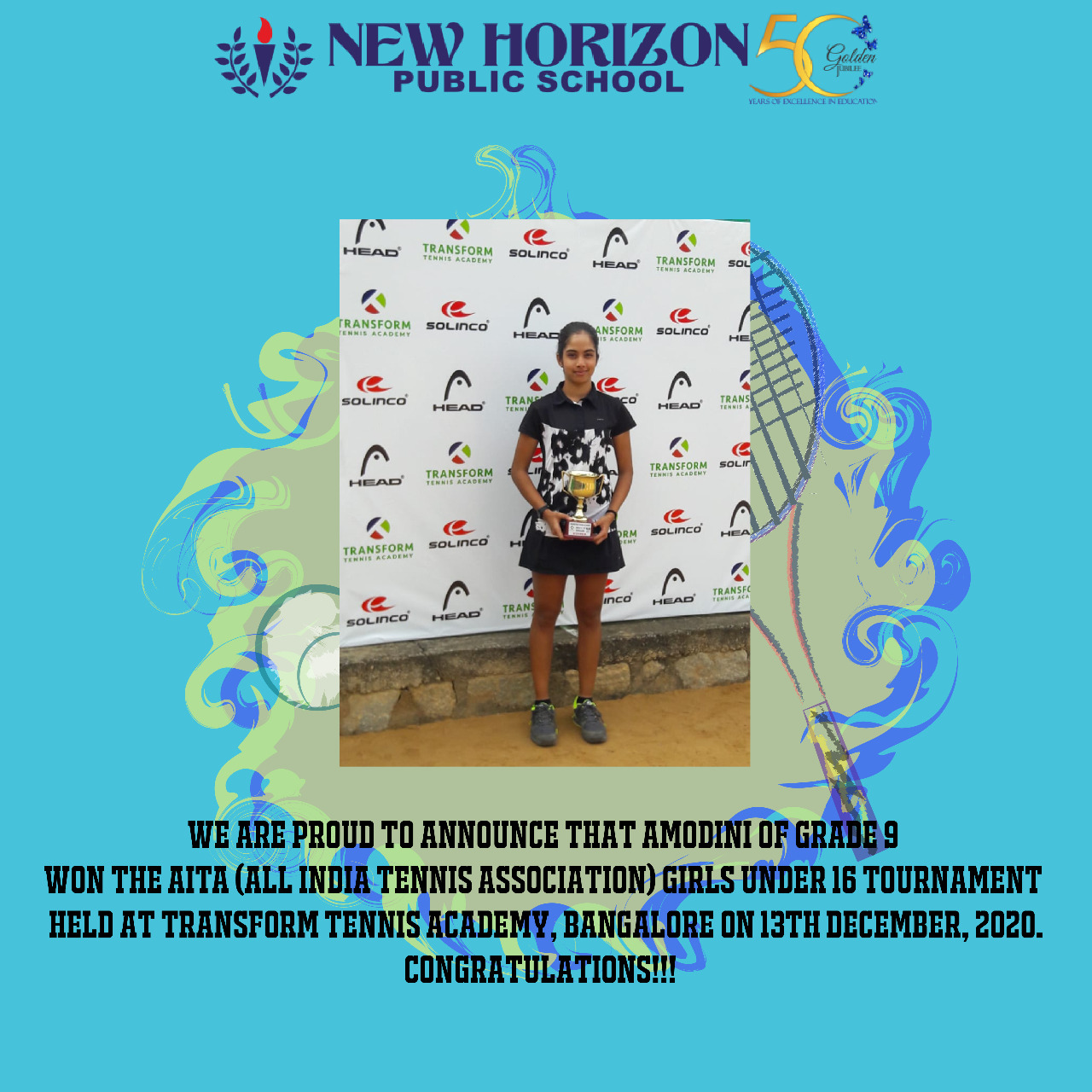 Amodini of grade 9 won the AITA (All India Tennis Association)