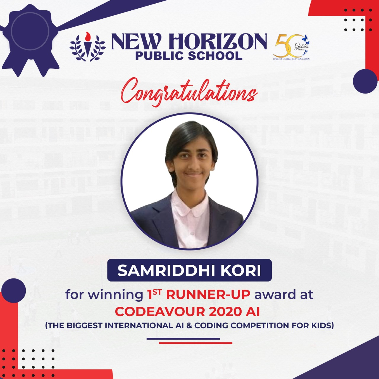 Samriddhi has secured a stunning 1st Runner-Up award at CODEAVOUR 2020 AI among 5492 participants across 99 countries.  Project  – RHETS – RAPID HEALTH EMERGENCY TRAFFIC SYSTEM  Congratulations Samriddhi. We're pleased to see you accomplishing great things. Onwards and upwards